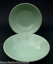 """TWO Wood & Sons Green Beryl Pattern Soup Cereal or Dessert Bowls 16.5cm (6"""") VGC"""