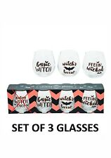 HALLOWEEN DRINKING WINE GLASS WITCH WINE 16oz GLASSES SET OF 3