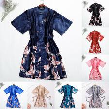 Mens Chinese Silk/satin Crane Print Kimono Long Robe Gown Nightrobe Bathrobe New