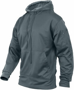 Mens Solid Concealed Carry Hoodie Pass Through Kangaroo Pocket CCW
