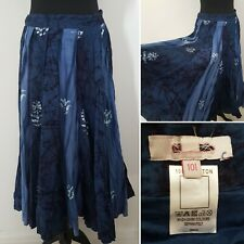 Ladies TIE DYED Blue Maxi Skirt Sz 10 Long Summer Festival Gypsy Boho Cotton
