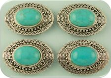 2 Hole Beads Faux Turquoise Oval Conchos ~ Silver Plated Metal ~ Sliders QTY 4