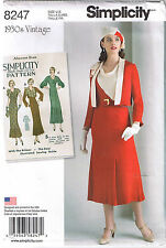 Vtg 30s Cowl Neck Dress Diagonal Seam Skirt Jacket Sewing Pattern 6 8 10 12 14