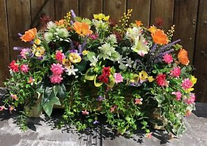 Decking Wooden Planter With Artificial Poppies And Pansies With Foliage