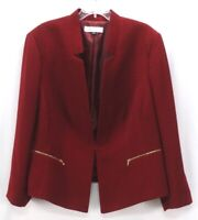 womens burgundy TAHARI blazer suit jacket mandarin collar stretch plus 2X 22W