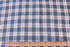 "Antique Farmhouse 19thC Indigo Plaid French Linen Homespun Fabric~1yd1""Lx53&#03 4;W"