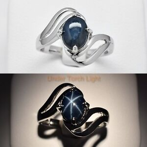 Alluring! 8x6mm Natural 6 Ray Dark Blue Star-Sapphire Ring in 925 Silver