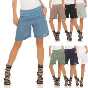 Damen Leinenshorts Bermuda Lockere Kurze Hose Freizeithose 100% Leinen Shorts