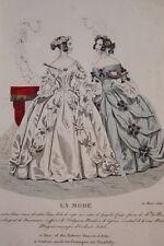 GRAVURE COULEURS LA MODE 1840-OLD FASHION PRINT XIXe SIECLE COSTUME MD43