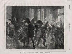OLD 1875 PRINT AFTER THE BAL MASQUE A SKETCH IN PARIS ON A WET NIGHT  b41