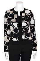 St. John Knits Black/Tan/White Luster Knit Slim Fit Zip-Up Jacket/Cardigan sz S