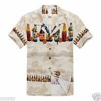 Men Tropical Hawaiian Aloha Shirt Cruise Luau Beach Party Tan Brew Beer Bottles