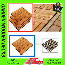 NEW 18PC 30CM SQ GARDEN WOODEN DECKS SLABS DECKING FLOOR INTERLOCKING TILES