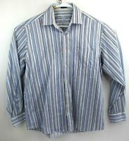 Bugatchi Uomo Mens Classic Button Dress Shirt Size L Long Sleeve Blue White