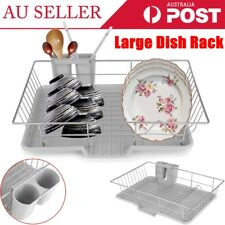 Large Dish Rack Utensils Holder Side Drainer Drying Tray Stainless Steel