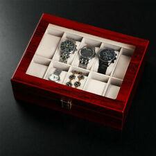 Boîte Coffret à Montre Bijoux Pour 10 Montres Ecrin avec Serrure Bois Présentoir