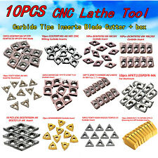 10pcs CNC Lathe carbure Inserts Blade Tips Cutter Turning Tool 48 Types + Boite