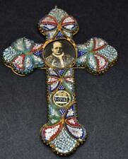 More details for antique / vintage italian micro mosaic cross / crucifix  pope pius xl