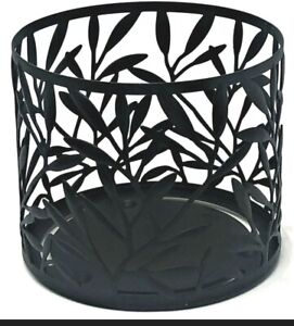 Bath & Body Works Matte Black Vine Leaf Large 3 Wick Candle Holder Sleeve Leaves