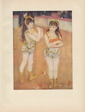 """1956 Vintage CHILDREN """"TWO LITTLE CIRCUS GIRLS"""" by RENOIR COLOR Art Lithograph"""