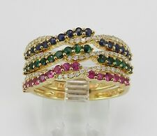 14K Yellow Gold Diamond Sapphire Ruby Emerald Stackable 3 Ring Band Set Size 7