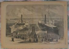 Dock Race Between Algonquin And Winooski. Delancy Street. Wood Engraving. 1865