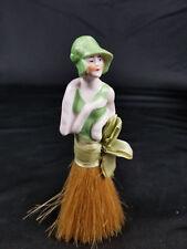 Vintage German SUNBATHING Porcelain Half Doll Pin Cushion Whisk Broom Doll