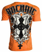 ARCHAIC by AFFLICTION Mens T-Shirt HELIX Cross Shield Tattoo Biker MMA $40