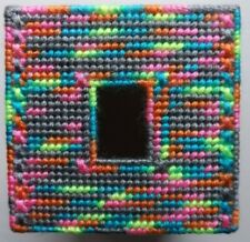 TISSUE BOX COVER HANDMADE GREEN/GRAY/PINK DESIGN