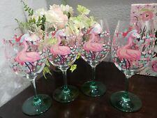 Christmas Pink Flamingo Holiday Plastic Stemmed Wine Glasses set of 4 New