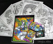 Fairy Art Adult Coloring Fantasy Rainbow Hippie Myka Jelina Trading Card Set 4