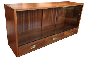 Military Campaign furniture wall drinks record LP cabinet display cupboard wood