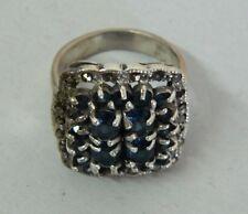 Anello in Argento 925 con pietre blu vintage OMA19