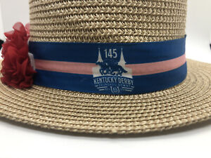 Kentucky Derby 145th Churchill Downs NEW Straw Hat with ROSE ~ May 4, 2019