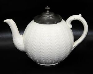 Rare, Antique, Saltglazed Teapot Pewter Lid, c1860, William Brownfield, 'ARGYLE'