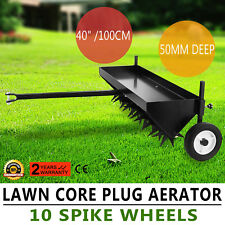 "Lawn Core Plug Aerator 40"" Pull Behind Ride On Mower Deep 10 Spike Durable"