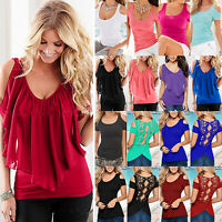 Women's Cold Shoulder T-Shirt V-Neck Short Sleeve Summer Casual Tunic Blouse Top