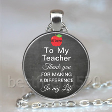 To My Teacher Photo Tibet Silver Cabochon Glass Necklace Pendant#D106
