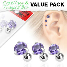 3 Pc Purple Round CZ Ear Cartilage Daith Tragus Helix Earrings Barbell Studs