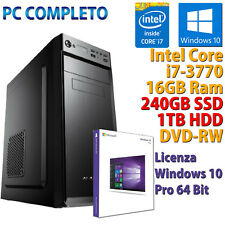 PC COMPUTER DESKTOP INTEL CORE i7-3770 RAM 16GB SSD 240GB HDD 1TB WINDOWS 10 PRO