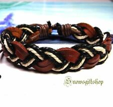 Men's Trendy Classic Multi Color Hemp Leather Woven Hip Hop Character Wristband