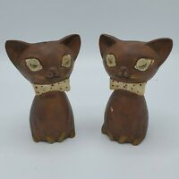 Vintage Lego Japan Siamese Cat Salt and Pepper Shakers Set Brown Siamese Winking