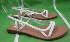 NEW LADIES Summer WHITE  Flat Back Elastic Strap Sexy Sandals Size 9