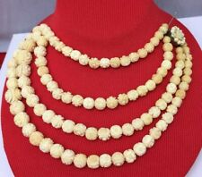 "Antique VTG Hand Carved Rose Graduated Beads Necklace Cream bovine Bone 18"""
