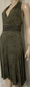 Bohemia olive green mix summer stretchy jersey fit & flare dress size L-14/16