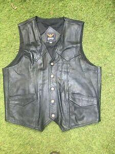 Genuine black leather Biker Casual Vest waistcoat size men's large