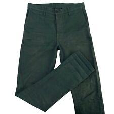 Left Field NYC Mens 33x37 Green Ringspun Cotton Selvedge Denim Distressed Jeans
