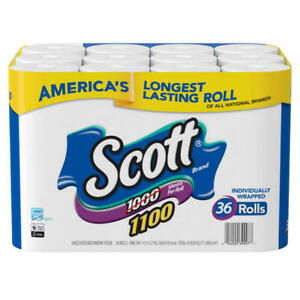 Scott 1100 Unscented Bath Tissue Bonus Pack Individually Wrapped Toilet 36 Rolls