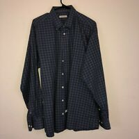 Mens Burberry London Navy Blue Gold/Tan Plaid Long Sleeve Button Up Shirt XL