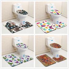 Butterfly Bathroom Rug Set Bath Mat Pedestal Mat Soft Non-Slip Toilet Lid Cover